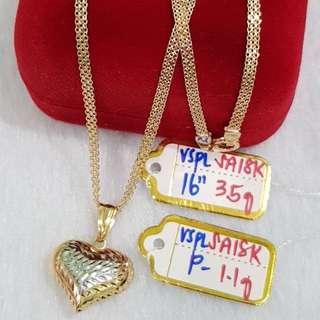 "18K|750 Tricolor Heart Necklace 16"" Genuine Gold"