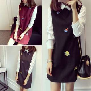 Korean Ulzzang Space Print Dress