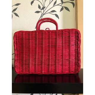 Rattan red basket / box