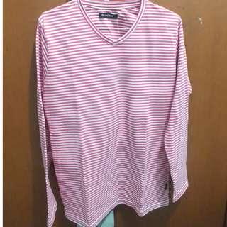 Kaos Stripe Pink Putih