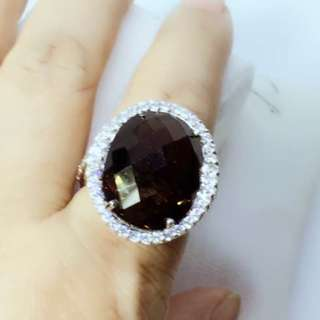 "Classy huge 19x16mm natural smokey Quartz & CZ size 7"" stamped ster silver 11.5 grams appx"