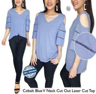 LOFT Cobalt Blue V Neck Cut Out Laser Cut Top