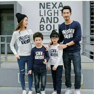 Sweater Couple Keluarga / Baju Couple Keluarga / Family Couple Me Too Navy 2 Anak