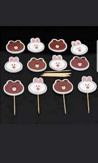 Brown & Cony Cake/Cupcake/Muffin Toppers for Party Decoration
