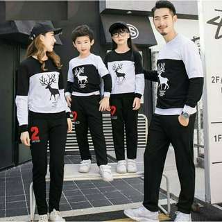 Sweater Couple Keluarga / Baju Couple Keluarga / Family Couple Rusa Moose 2 Anak
