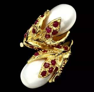 🌹🌹SALE!! Stunning! Twin pearl ring with ruby