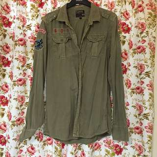 Superdry Regiment army green button down with patches