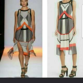 BCBG pleated runway dress