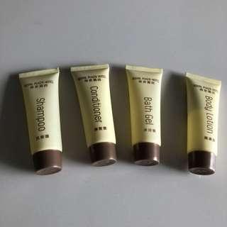 BN Toiletries / shower set (shampoo, conditioner, bath gel and body lotion)