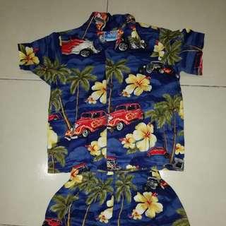 Sepasang baju seluar vintage hawaii budok