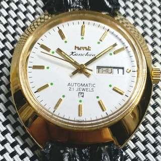 hmt Kanchan 中古錶,金字釘金, 原裝21石自動機芯,已抹油,行走精神 ,鮑魚売直徑36mm不連錶的 ,淨錶港幣$700 ,有意請pm
