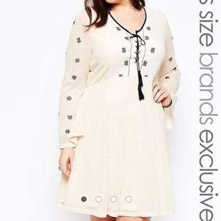 BN ASOS Alice & You Folk Embroidered Skater Dress UK20