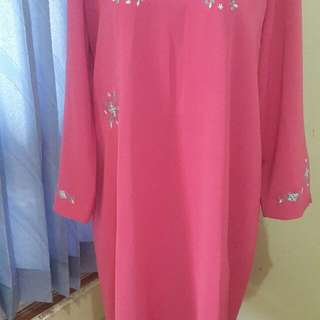 Preloved Gamis Pink Bordir Flower. All Size. Bahan Semi Katun. Adem. No Deffect