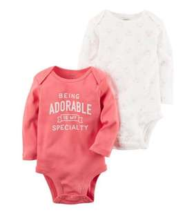 *12M* Brand New Carter's 2 Pack Collectible Bodysuits For Baby Girl