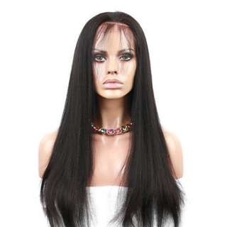 Human Hair Lace Front Wigs Light Yaki Straight Wig (360° 150% Density)