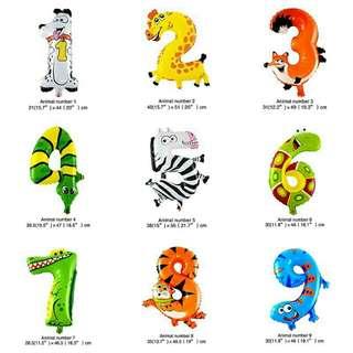 Animal number balloon