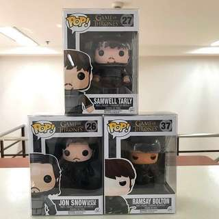 Funko Pop - Game of Thrones Set (Samwell, Ramsay & Jon)