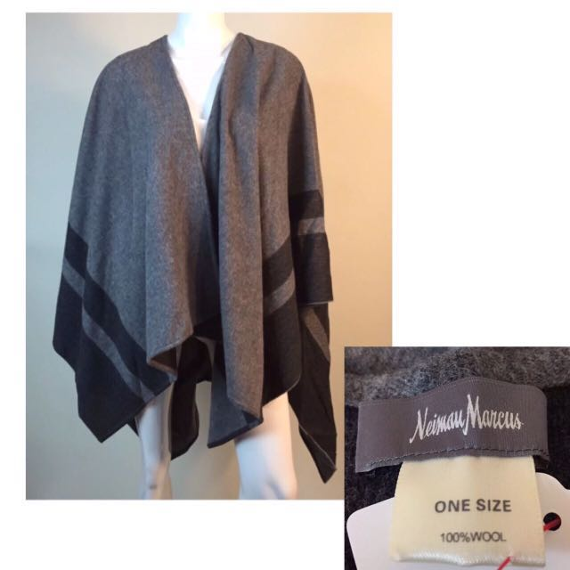 100% Wool 羊毛歐美品牌名媛氣質質感披件外套Neiman Marcus100% Wool - Soft Poncho Wrap 2 Shades of Gray