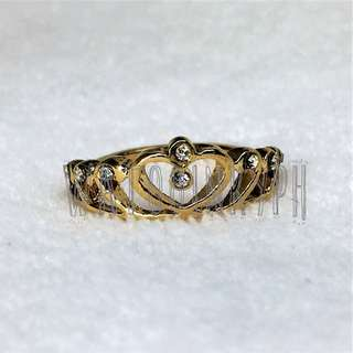 Regal Crown Gold Ring with Rhinestones
