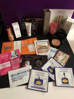 Makeup and skincare samples and a small two faced bronzer sun bunny