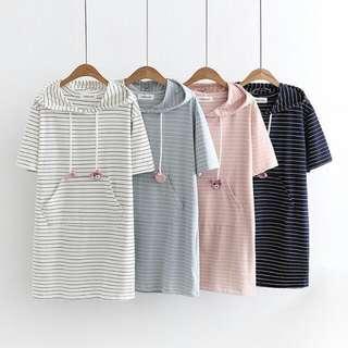 Stripes Hoodie Dress