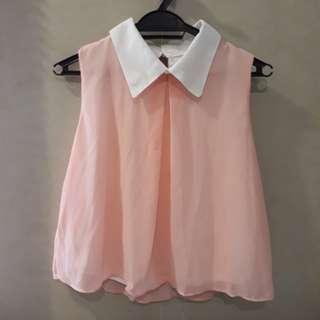Pink Sleeveless Chiffon Top #20under