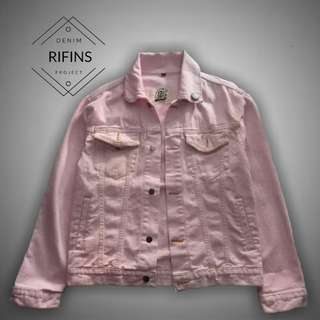 Jaket Jeans Denim - Baby Pink High Quality