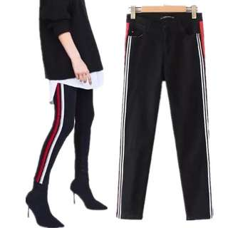 (XS~L) European women's high waist stretch feet jeans cowboy pants pencil pants tide