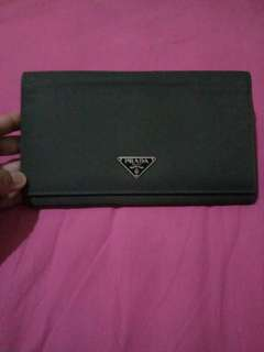 Authentic Prada nylon with saffiano leather long wallet