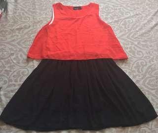 Loose Orange and Black Chic Dress   S-M