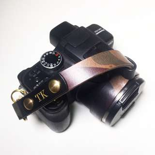 Leather Camouflage Camera Wrist Strap (Italian Leather, Personalized, Custom, Engraving, Name, Monogram) | Avaloncraft
