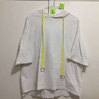 """🌺Oversized White Hoodie with """"Dead Inside"""" print at the back (w/minor discolouration)"""
