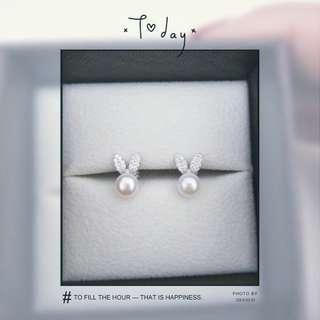 淡水珍珠兔兔耳環