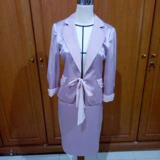 Pink duchess office blazer+skirt (1 set)