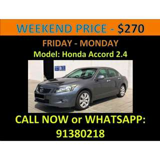 Honda Accord 2.4A Weekend Car Rental March