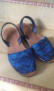 Blue Songket Avarcas Wedge