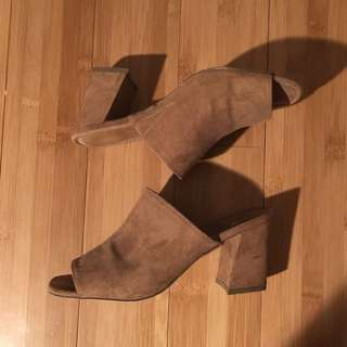 Brown Faux Suede Mules Size 6