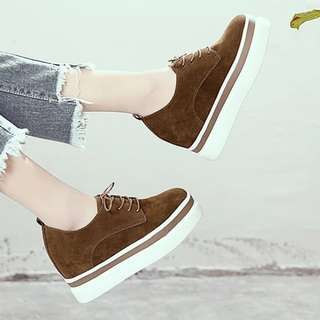 PO Suede Platform Wedges Sneakers Shoes