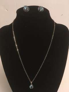 925 silver chain with Aquamarine pendant & earrings