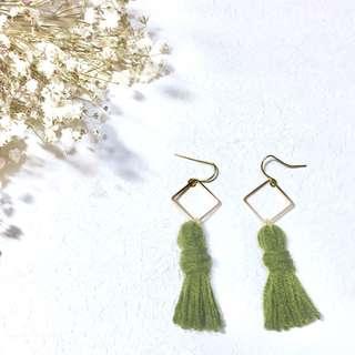 Handmade green tassels earrings