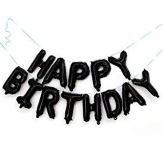 Black balloons Happy Birthday 16inch
