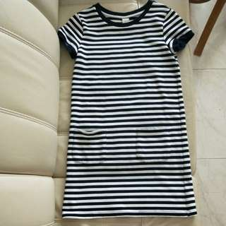 Casual Striped T-shirt Dress