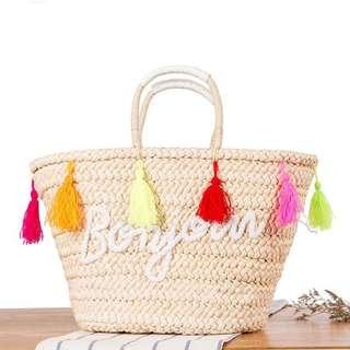 Bonjour Braided Straw Bag (Short Handle)