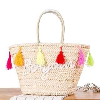 Bonjour Braided Straw Bag (Long Handle)
