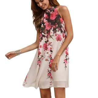 pink floral white simple dress | PO