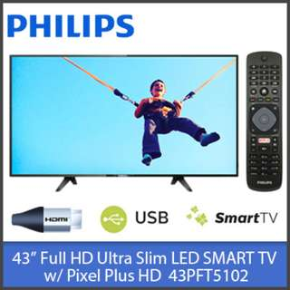 "43PFT5102 Philips 43"" FULL HD Ultra Slim LED SMART TV w/ Pixel Plus HD"