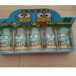 1991' 珍貴全新keroppi 青蛙玻璃杯 一套5 隻連盒