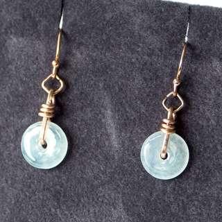 Rose Gold wired Jade doughnut earring