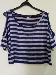 🔴A135 Temt open shoulder crop tops tshirt