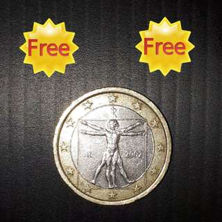 FREE !!! (Zero Cost) : Old Coin Italy 1 euro 2002 - Drawing by Leonardo da Vinci (Issue Year 2002)